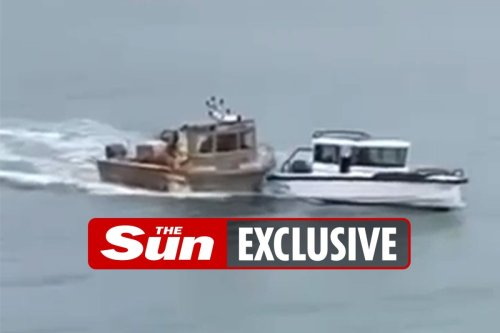 Moment 35ft French trawler RAMS Brit boat in Jersey fishing 'war'