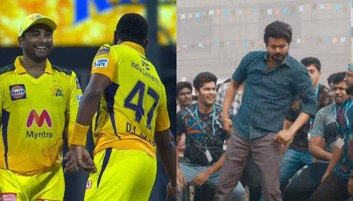 DJ Bravo takes Murugan Ashwin wicket and celebrates in Vaathi style