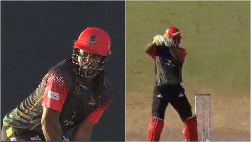 CPL 2021 LIVE: Odean Smith's delivery breaks Chris Gayle's bat into Two