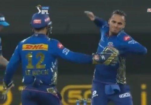 IPL 2021: Rahul Chahar seen furious after taking Bharat wicket in RCB vs MI - The12thMan