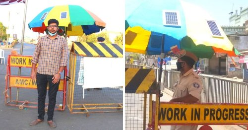 Beating The Heat With Innovation: 23-YO Designs Solar-Powered Umbrellas For Ahmedabad Cops
