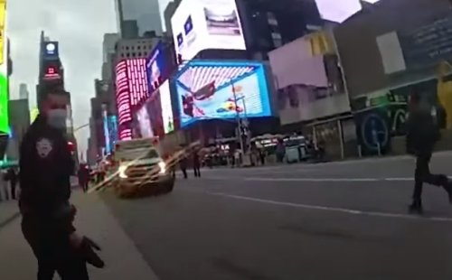 VIDEO: Hero police officer who saved the 4-year-old in Times Square shooting this weekend, body-cam footage