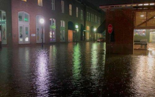 Multiple roads in Charleston were closed on Sunday following heavy rain Saturday overnight