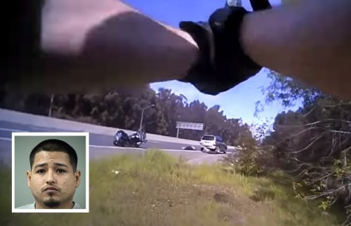 VIDEO: Suspect opens fire on police officer after crashing his car in a pursuit, gets fatally shot