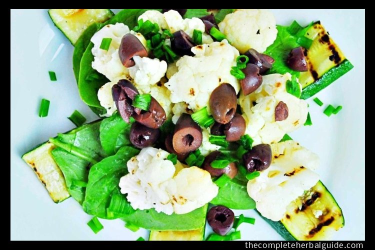 Warm Grilled Cauliflower and Spinach Salad