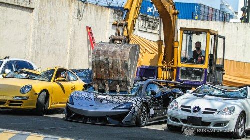 Watch Customs Officials Crush a Contraband McLaren 620R