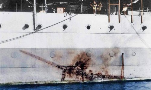 This Impact Mark Of A Kamikaze On A British Cruiser Is Testament To The Brutality Of The Pacific War