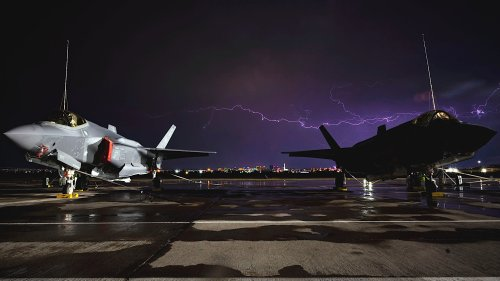 """Air Force Tweet Showing F-35As Protected By Lightning Rods Asks """"Which Lightning Strikes Harder?"""""""