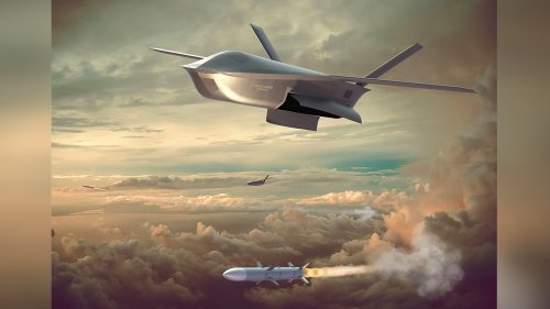 """General Atomics Unveils New """"LongShot"""" Aircraft-Launched Air-To-Air Combat Drone Rendering"""