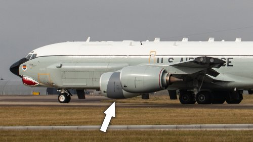 RC-135 Seen With Borrowed KC-135 Engine Cover After Frightening Crosswind Landing Mishap