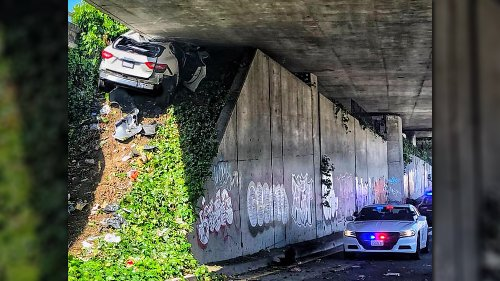 Maserati Driver Wedges Levante Under Highway Overpass at Over 100 MPH While Running From Cops