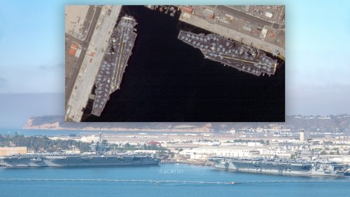 Rare Sight Of Two Supercarriers Docked In San Diego With Their Decks Packed With Aircraft