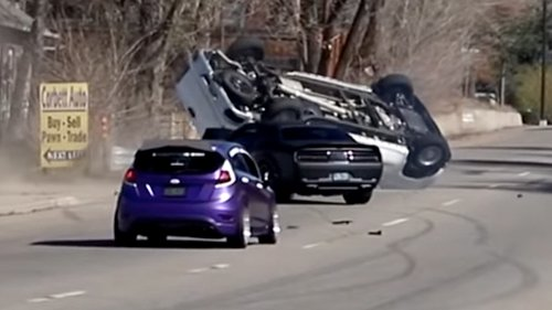 Dodge Challenger Hellcat Driver Demolishes Passing Truck in Idiotic Cars and Coffee Crash