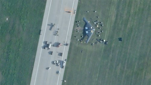 Damaged B-2 Spirit Is Sitting Wing-Down Off The Runway After Landing Mishap