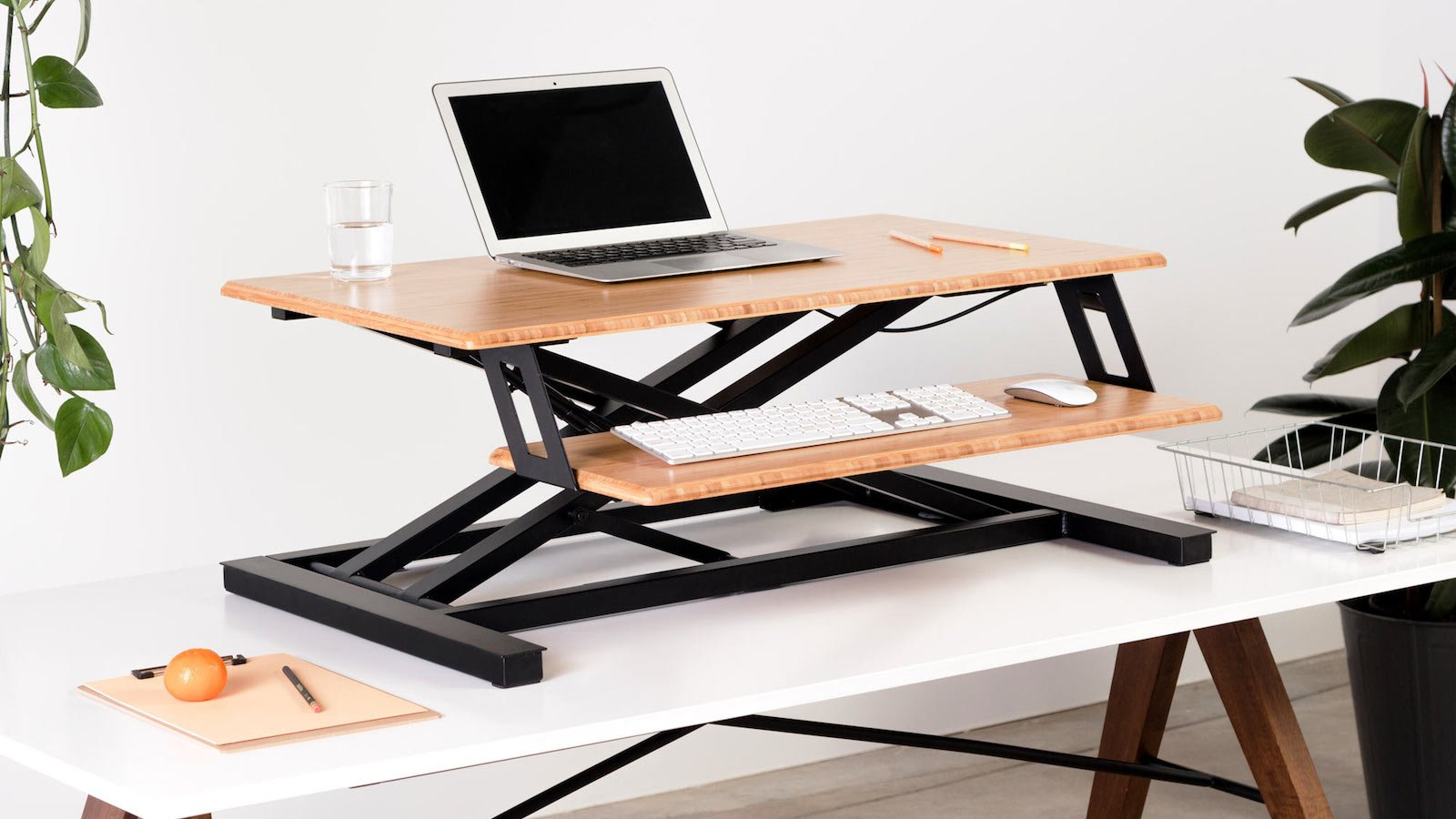 Fully Cooper Standing Desk Converter gives you the freedom to sit or stand while your work