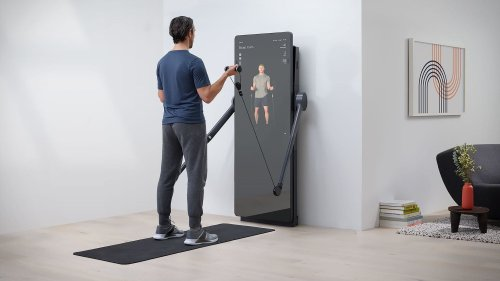 Yves Béhar FORME Life connected fitness mirror has a built-in weight training system