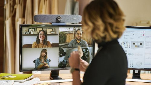 Poly Studio P15 videoconferencing bar features automatic camera framing
