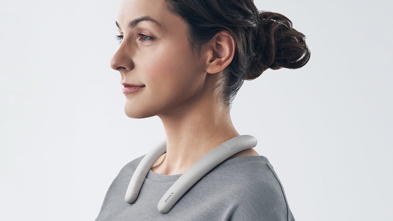 Sony SRS-NB10 neckband speaker has buttons for mute, volume, and power for convenient use