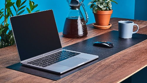 Grovemade Leather Desk Pad & Protector prevents your mouse and keyboard from sliding