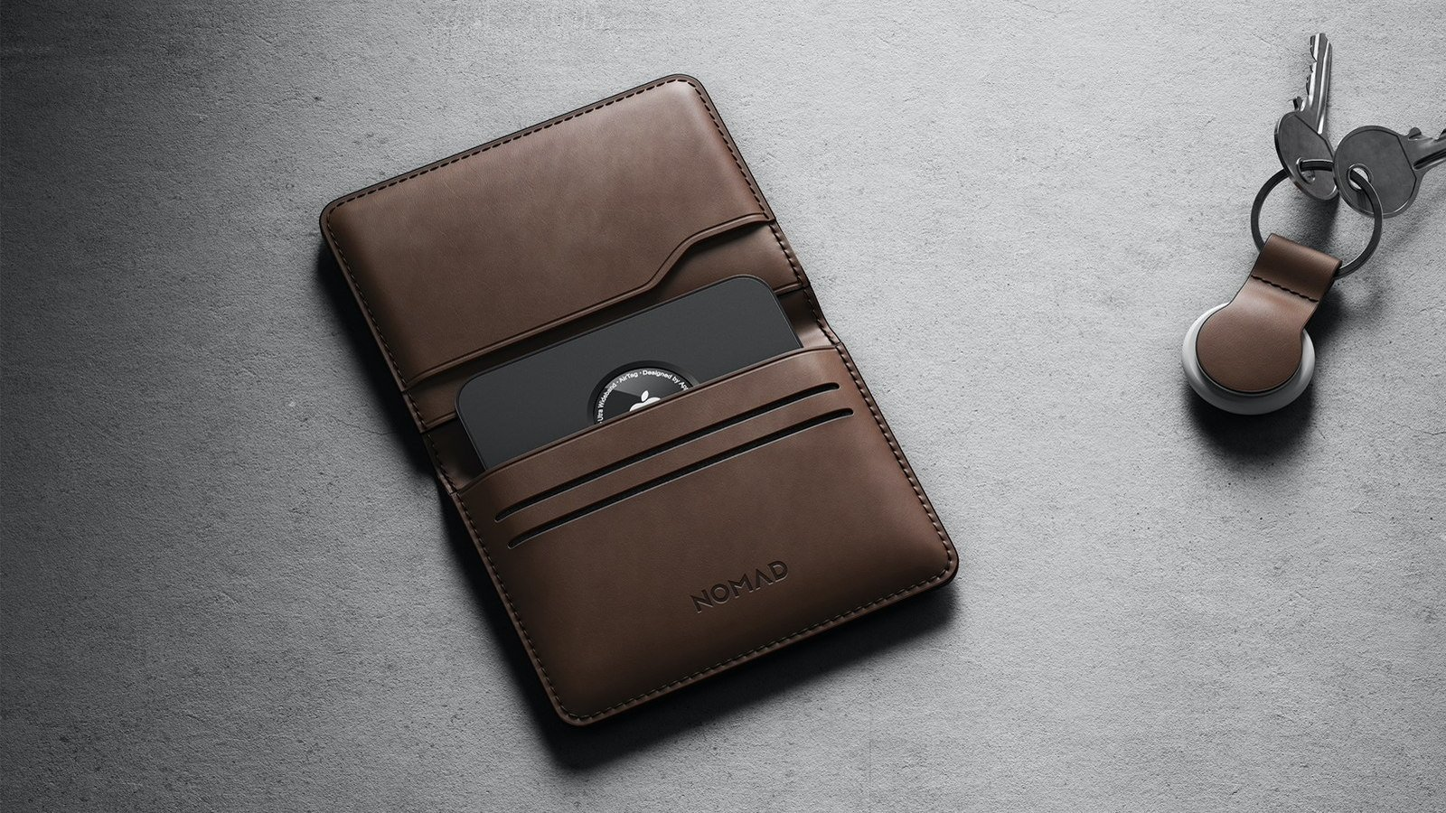 Nomad Card for AirTag wallet tracking is credit card size and helps you track your wallet
