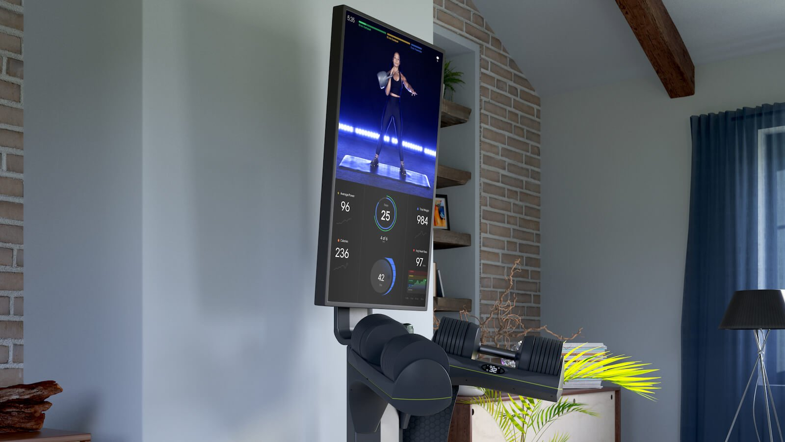 JAXJOX InteractiveStudio home fitness equipment organizes and stores all of your weights