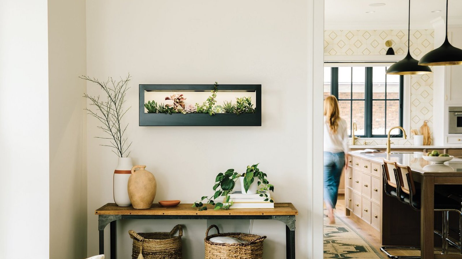Modern Sprout Smart Landscape Growframe nourishes healthy plants in a picture frame
