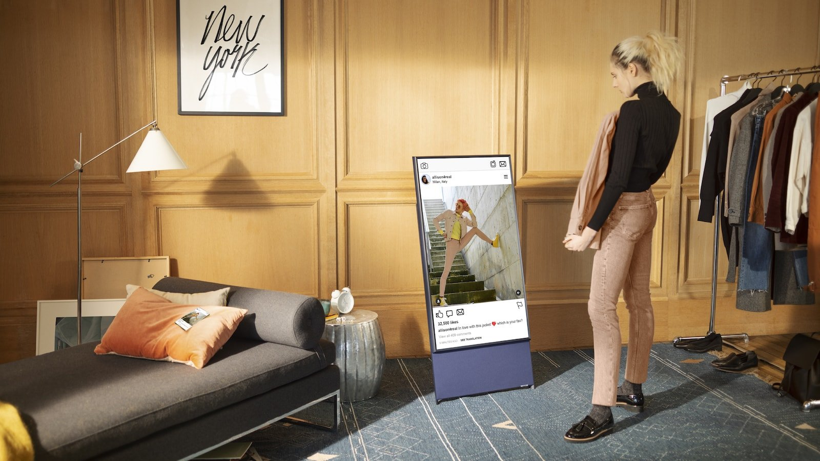 Samsung The Sero 2021 rotating TV offers Apple AirPlay 2 in horizontal and vertical modes