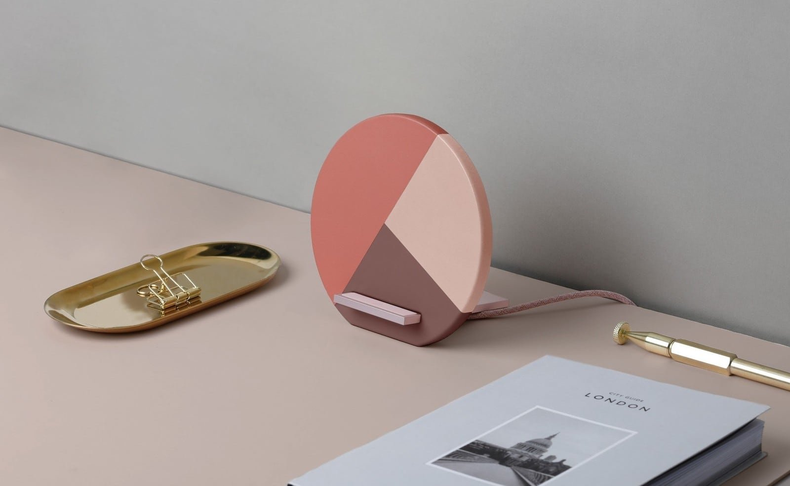 Native Union Dock Marquetry Wireless Charger Fast Charging iPhone Stand is handmade from leather