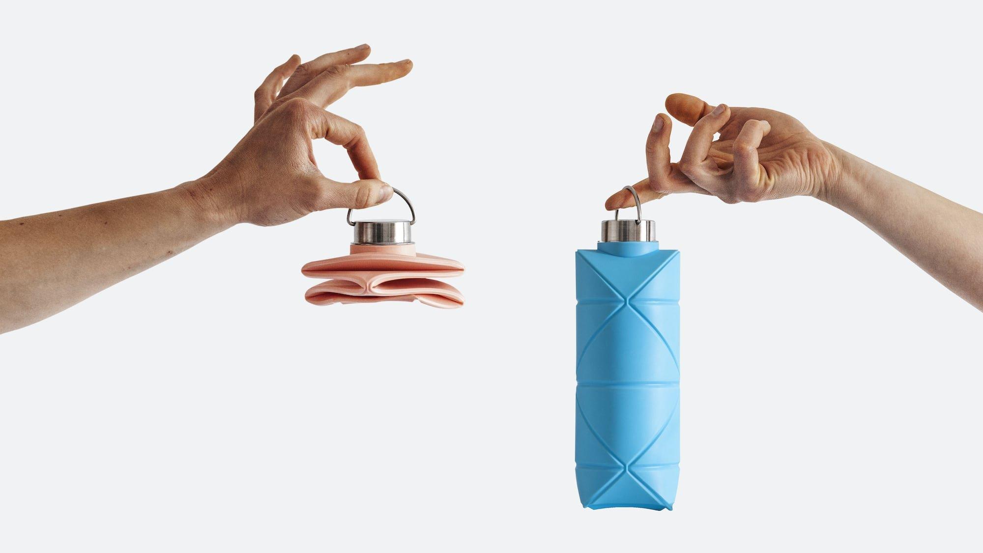 Origami Bottle Novel Reusable Bottle folds flat to fit in your pocket