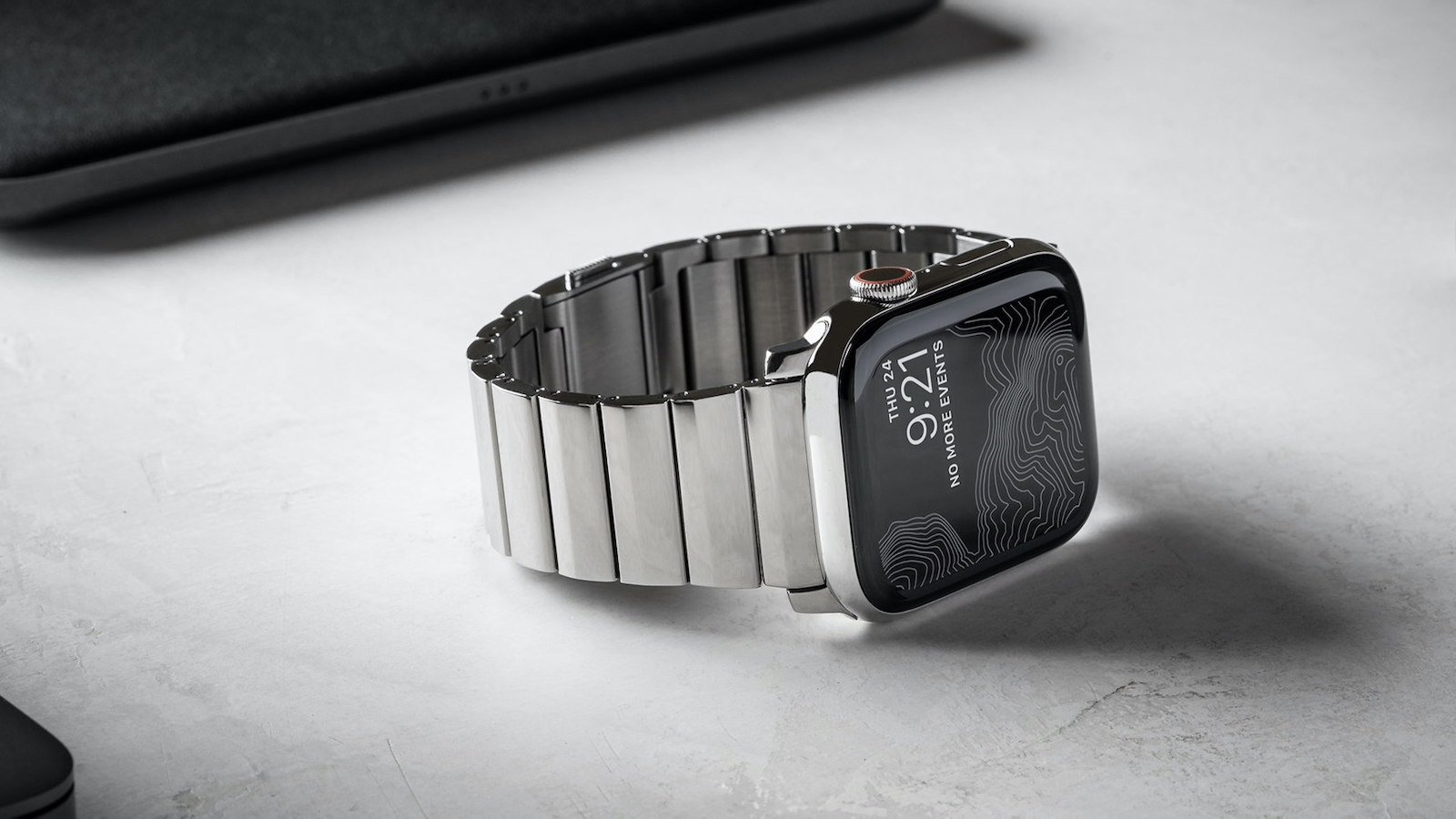 Nomad Steel Band for Apple Watch has a stainless steel and a diamond-like carbon coating