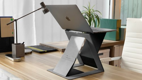 MOFT Z 4-in-1 Invisible Sit-Stand Laptop Desk has an origami-inspired design