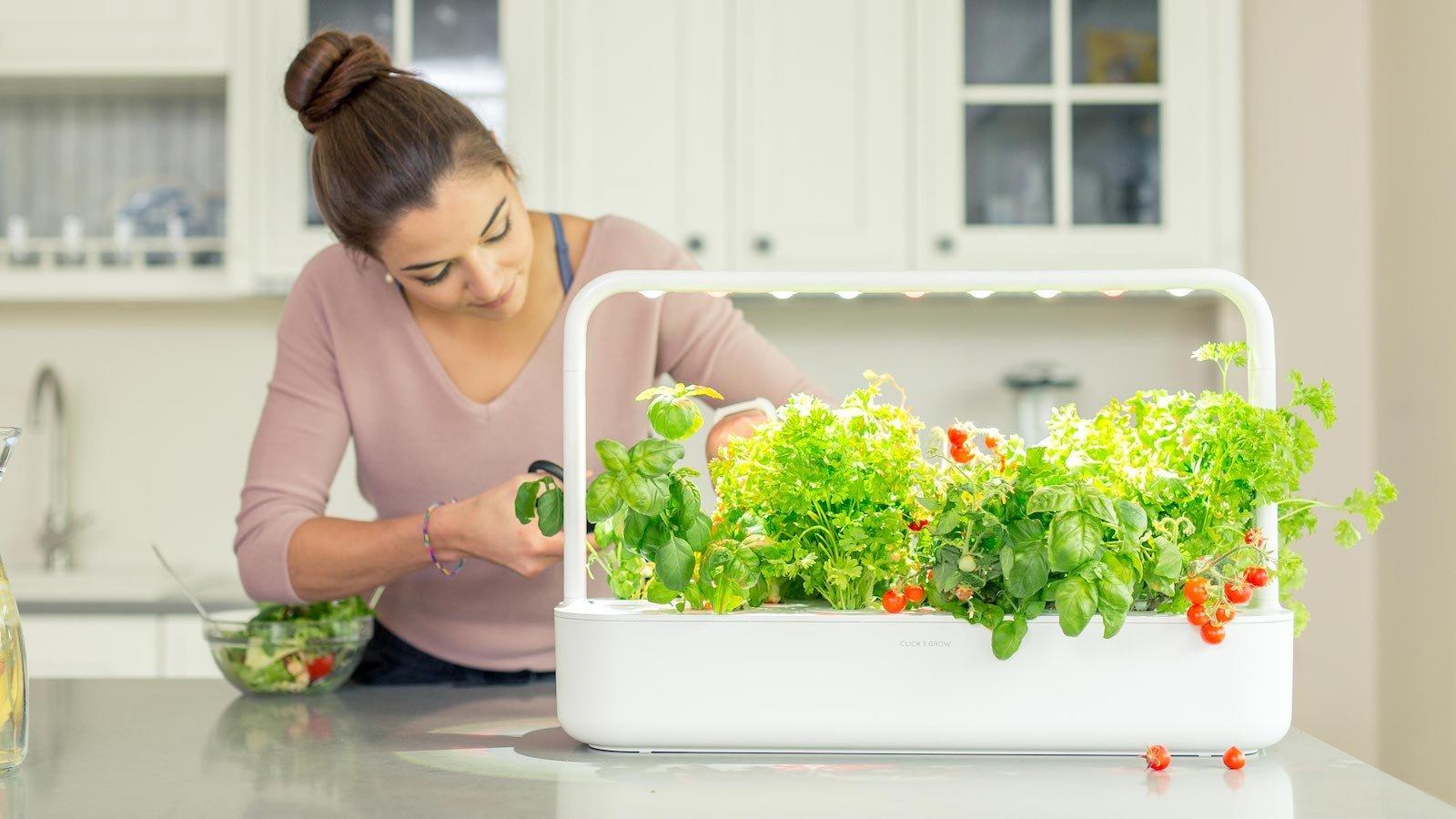 Click & Grow Smart Garden 9 PRO is an app-controlled, self-growing indoor garden