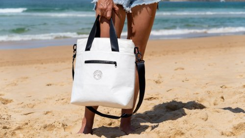 The Coolio lightweight cooler is slim and made from recycled materials