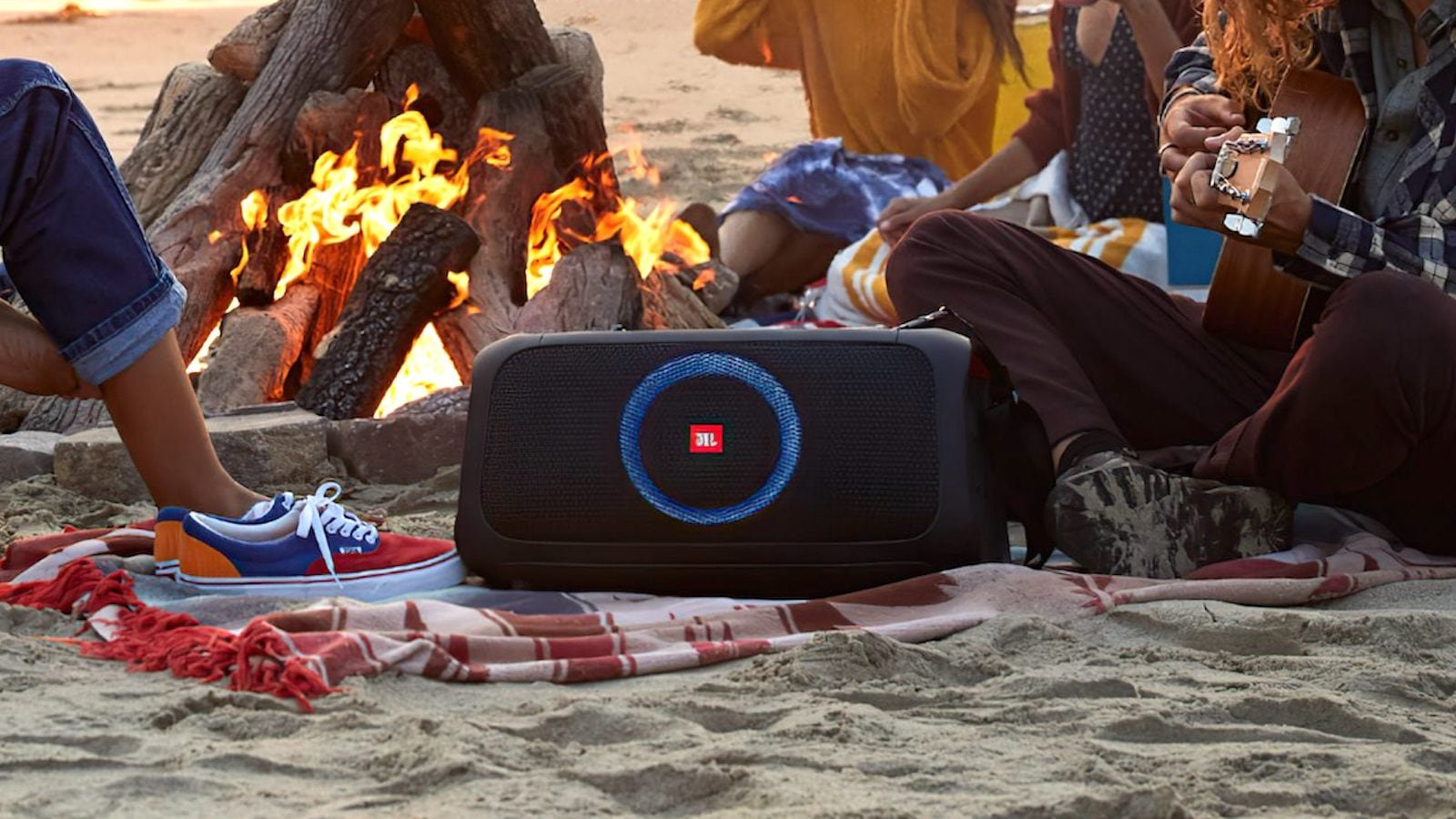 JBL PartyBox On-The-Go portable party speaker has integrated lights and a wireless mic