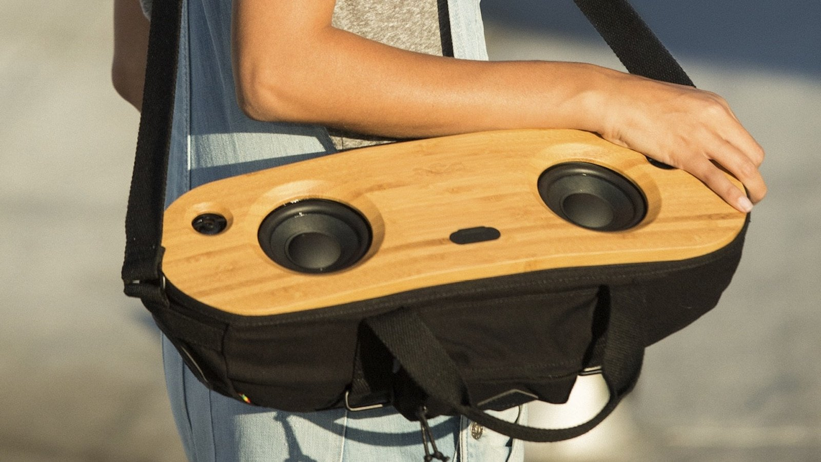 House of Marley Bag Of Riddim 2 portable audio system can be worn while you're on the go