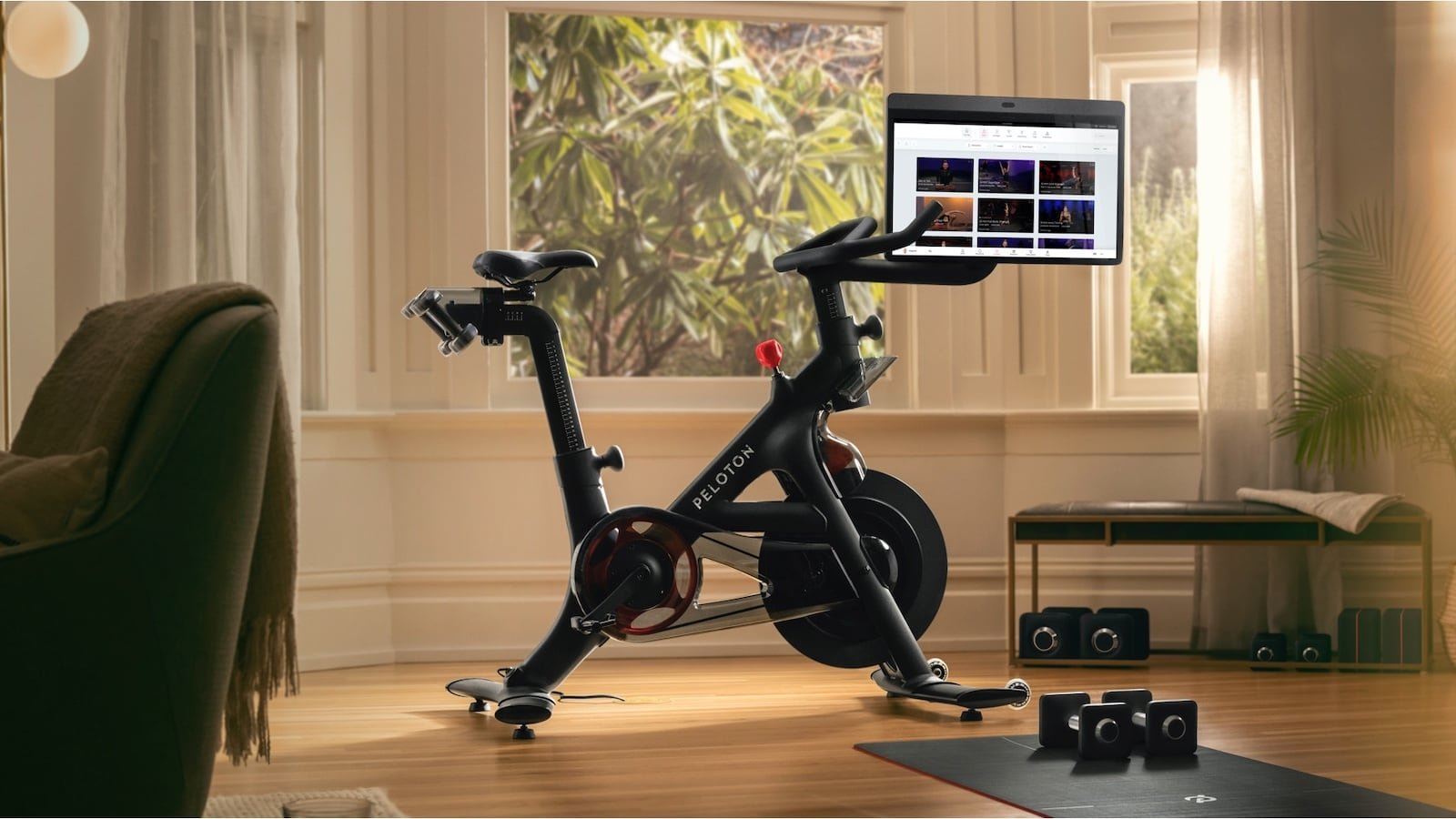 Peloton Bike+ home exercise bicycle lets you cycle, do yoga, stretch, and meditate