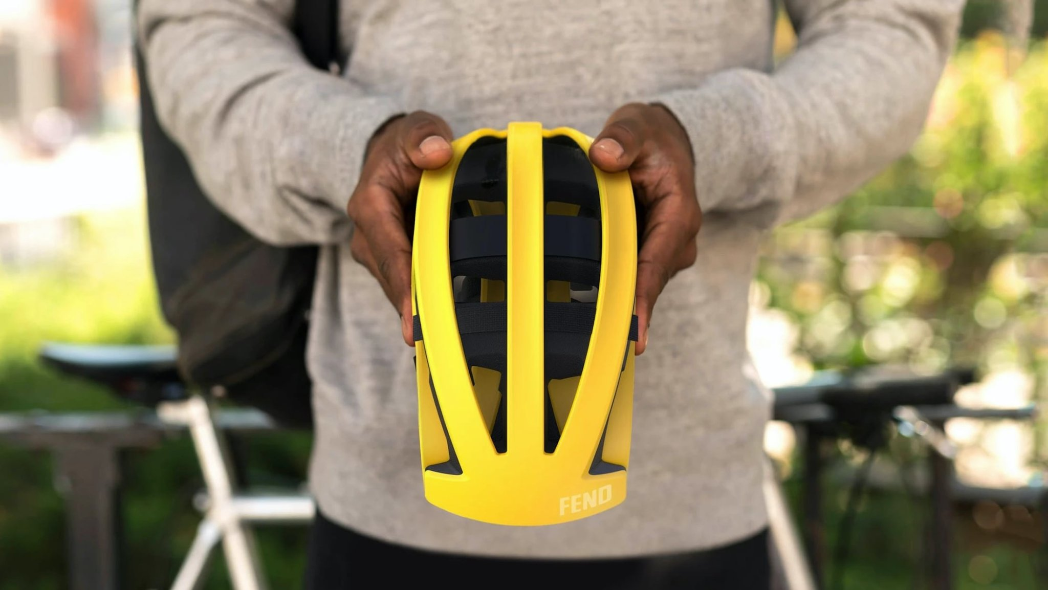 FEND One Foldable Bike Helmet folds up for easy storage in your bag