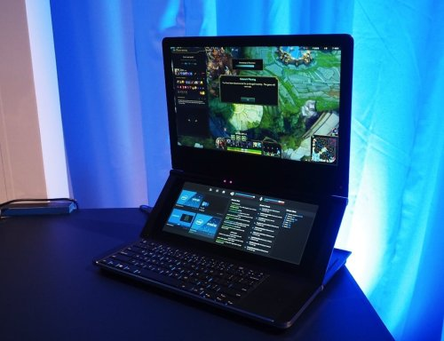Intel Honeycomb Glacier Hinged Dual-Screen Laptop lets you choose your display location
