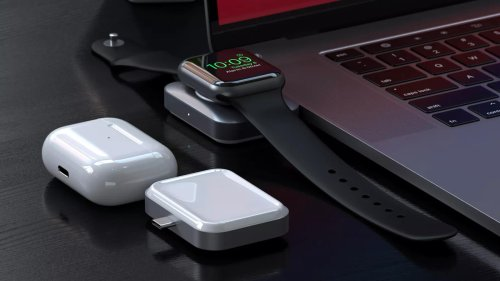 Satechi USB-C Apple Watch AirPods Charger charges two devices simultaneously