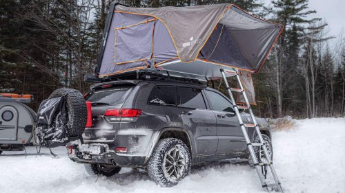 SkyLux Hard-Shell Rooftop Tent can sleep four people and sets up in about a minute