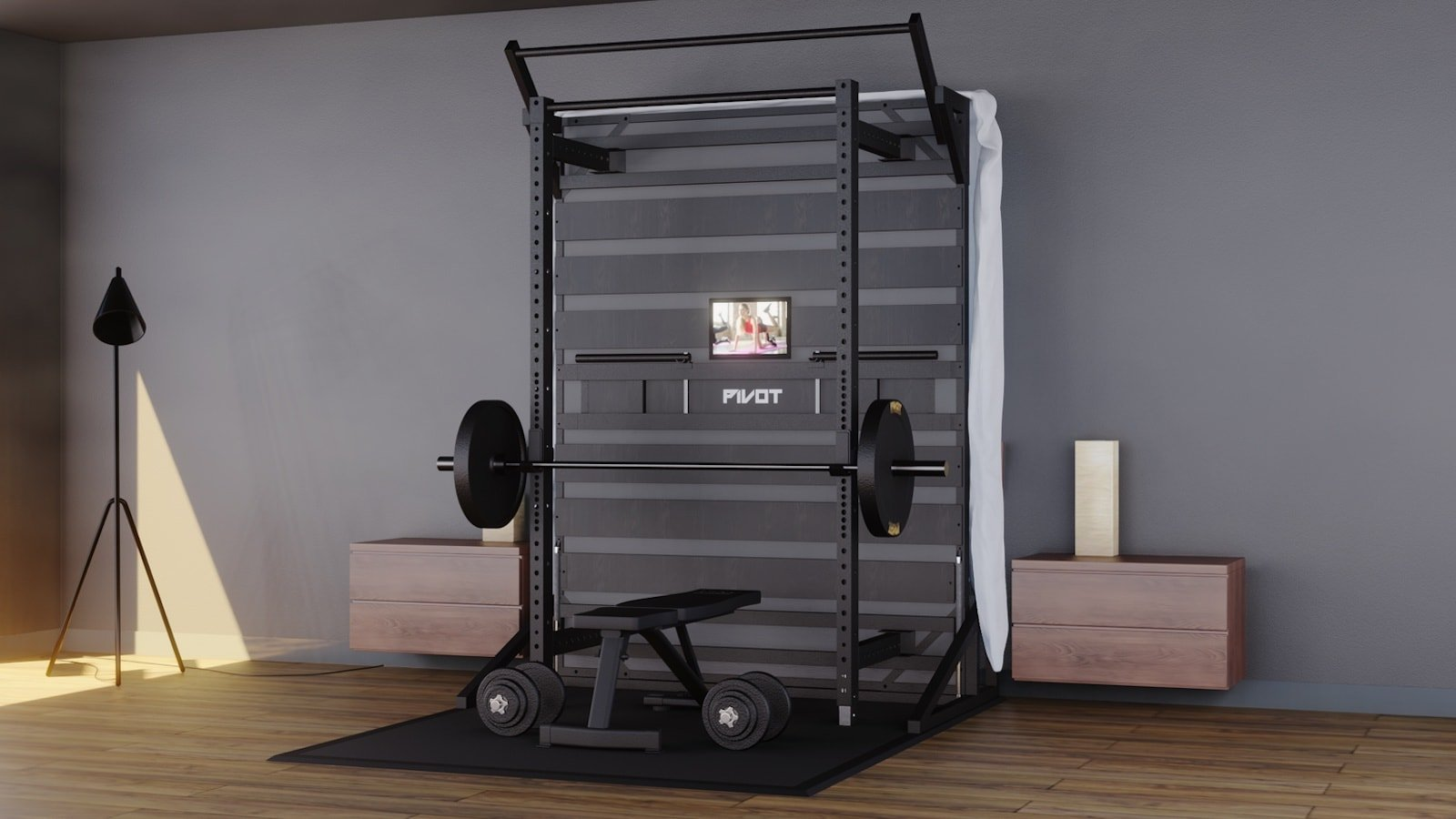 PIVOT Fitness Bed bedroom home gym is both a bed frame and indoor workout center