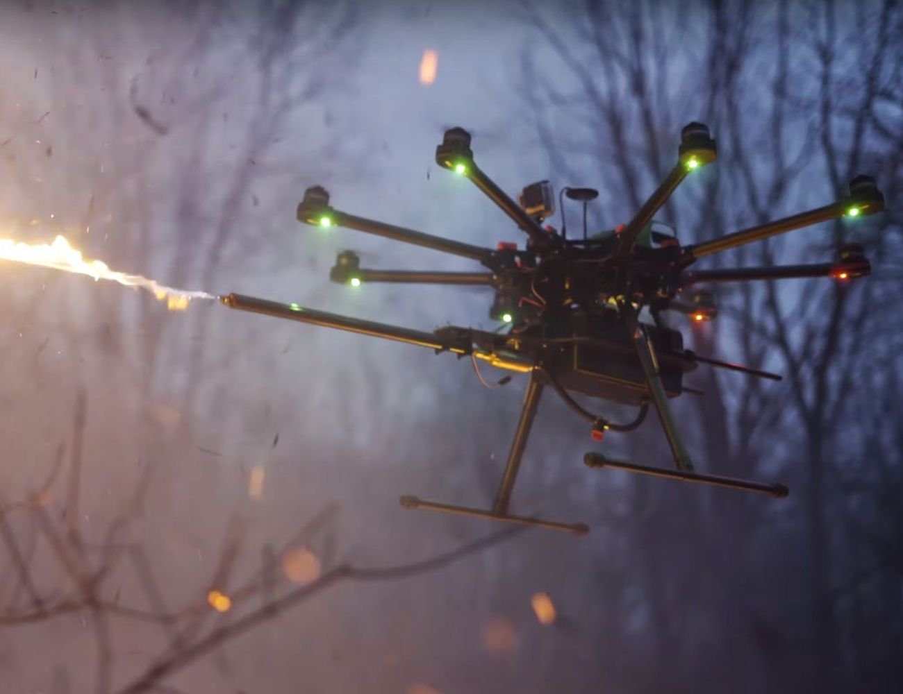 Throwflame TF-19 WASP Drone Flamethrower Attachment remotely ignites your target