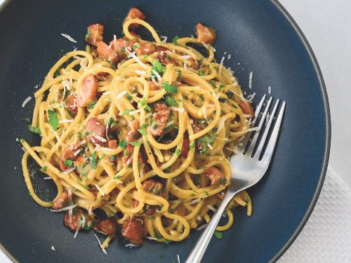 Bob Blumer's creamy carbonara recipe is influenced by the tricks he's learned from chefs around the world