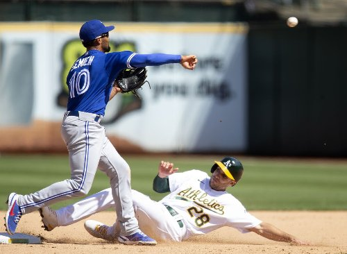 Grichuk drives in five as Jays trounce A's for series split