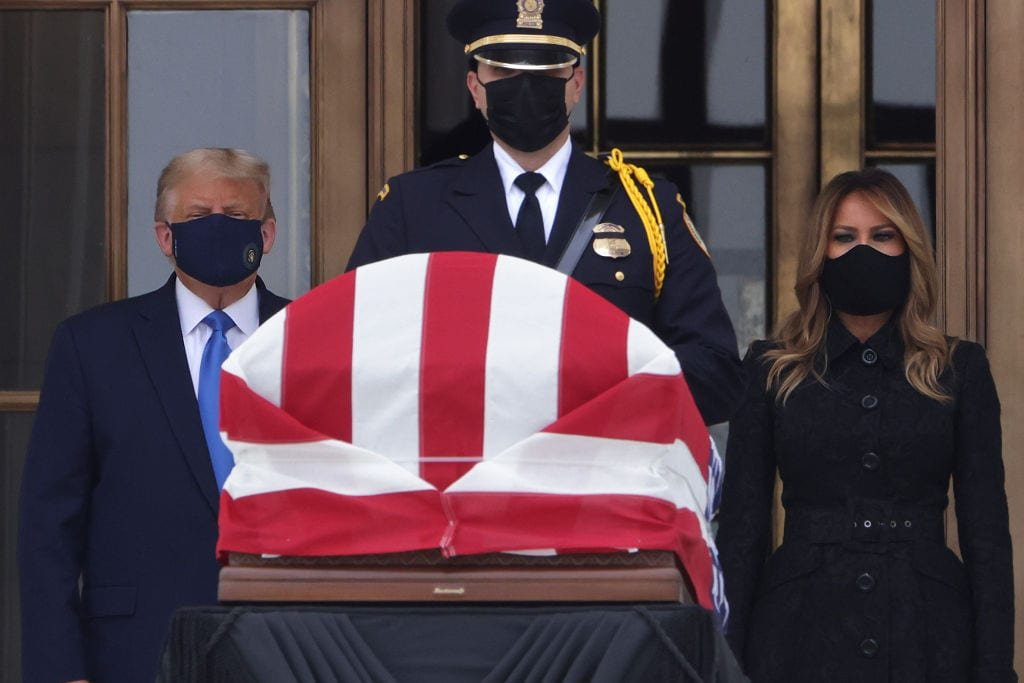 Crowd chants 'vote him out', boos Trump at court viewing of Ruth Bader Ginsburg casket