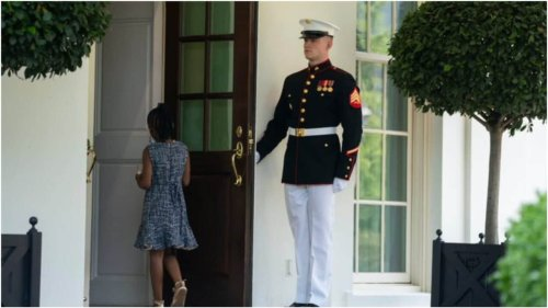 Photo of marine holding door for Gianna Floyd at White House goes viral