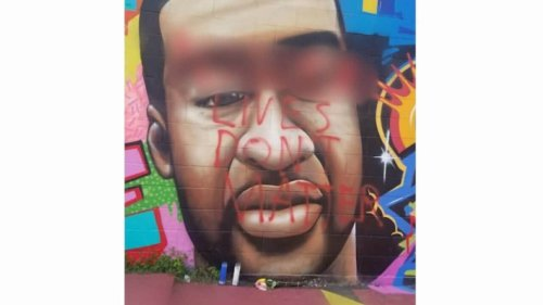George Floyd mural defaced with n-word 'lives don't matter' - TheGrio