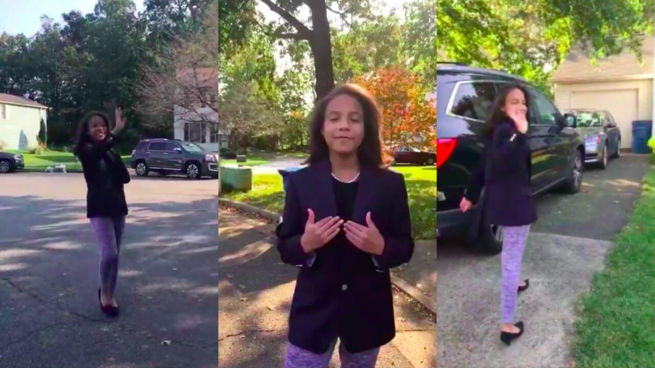 Video of little girl dressed as Kamala Harris goes viral