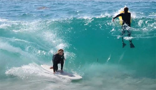 Ben Gravy surfed the Wedge With Kalani Robb and Blair Conklin