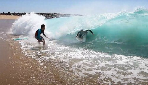 Here's What It Looks Like to Skimboard the Wedge at High Tide